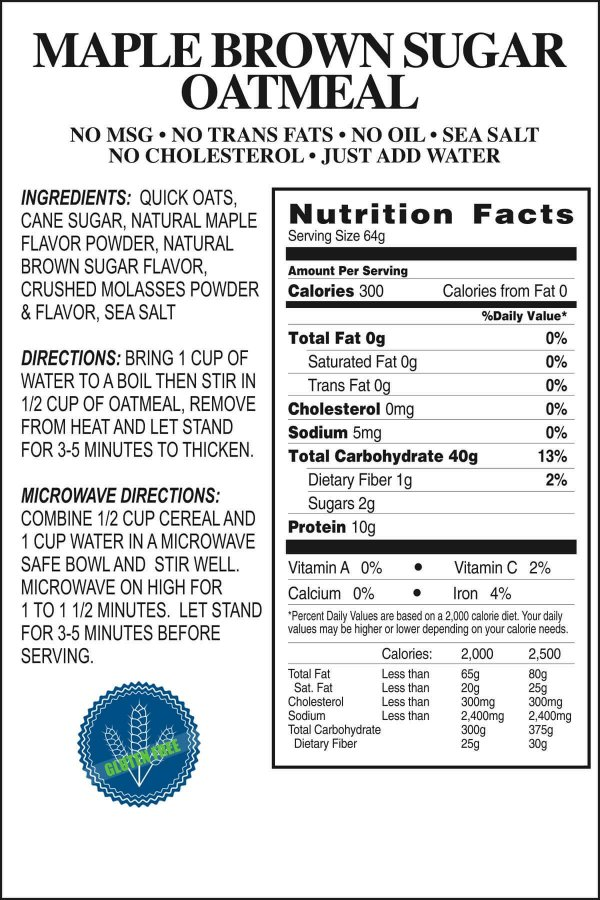 Maple Brown Sugar Oatmeal Product Label