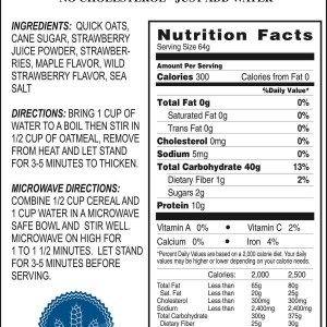 Strawberry Oatmeal Product Label